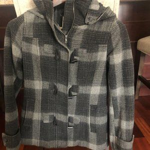 H&M Plaid Pea Coat Sz 6 - Gray & Black